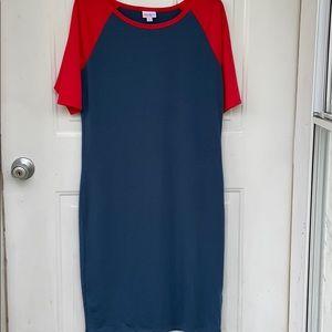 LuLaroe Jersey Knit Blue Red Dress Julia